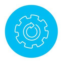 Gear wheel with arrow line icon.